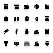 package icons with reflect on white background - stock illustration