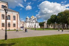 saint sophia cathedral at novgorod kremlin - stock photo