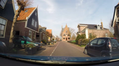 GRAFT-DE RIJP, THE NETHERLANDS - vehicle shot ancient City hall of Graft Stock Footage