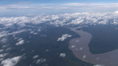 Aerial view of Amazon river and rainforest - Brazil Stock Footage