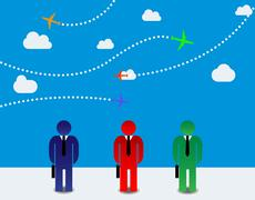 Businessmen and airplanes Stock Illustration