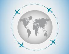 Globe and airplanes Stock Illustration