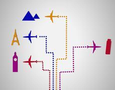 Flight destination dots Stock Illustration