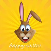 Easter bunny rabbit greeting card with sunny background Stock Illustration