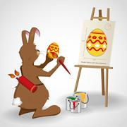 Easter bunny rabbit decorating an easter egg as given by a blue print - stock illustration