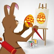 Easter bunny rabbit decorating an easter egg as given by a blue print Stock Illustration