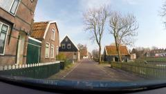 GRAFT-DE RIJP, THE NETHERLANDS vehicle shot narrow street in De Rijp village. Stock Footage