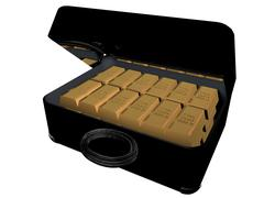 Ingots in suitcase Stock Illustration