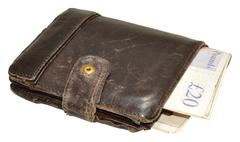 Old Leather Wallet And Bank Notes - stock photo