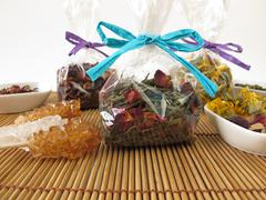 Tea gifts packaged in small bags - stock photo