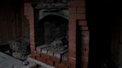 Unusable fireplace,, close up Stock Footage