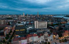 aerial view to the center of antwerp from the roof - stock photo