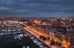 aerial view to the harbor of antwerp from the roof - stock photo