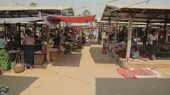 Local market in Bagan area Stock Footage