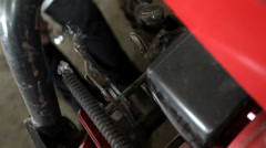 Closeup of mechanic with dirty hands fixing some equipment with wrench Stock Footage