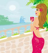Girl on vacation drinking a red wine Stock Illustration