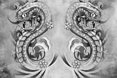 snakes. tattoo design over grey background. textured backdrop. artistic image - stock illustration