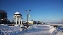 White rotunda at Onega lake quay, Petrozavodsk, timelapse - stock footage