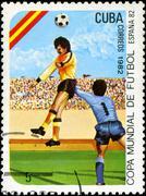 Cuba - circa 1982: a post stamp printed in cuba shows shows football, series  Stock Photos