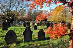 Autumn Graveyard - stock photo