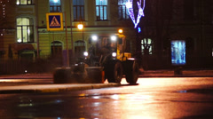 Street snow clearance in Saint Petersburg Stock Footage