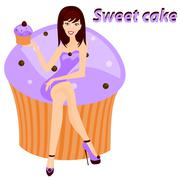 Sweet cake - stock illustration