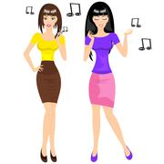 Two girls Stock Illustration