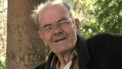 Old man laughing - stock footage