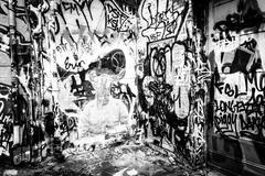 designs in graffiti alley, baltimore, maryland. - stock photo