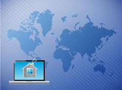 Telecommunication laptop home world map Stock Illustration