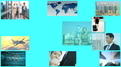 3D video montage Chinese business touch display Hongkong app motion graphics - stock footage