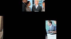 3D video montage Asian Caucasian business office team touch screen Stock Footage