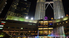 KLCC And Colourful Water Fountain Pan Right 12fps Stock Footage