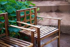Bench in the park at doi ang-khang, chaing mai, thailand Stock Photos