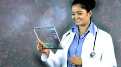 Touch screen Indian doctor networking navigation medical motion graphics Stock Footage