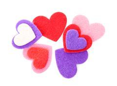 Couple of harts made of felt Stock Photos