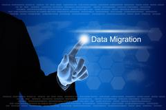 Business hand clicking data migration button on touch screen Stock Illustration