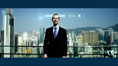 3D touch screen Caucasian businessman banking Hongkong app motion graphics - stock footage