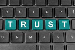 Trust word on keyboard Stock Illustration