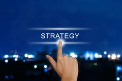 Hand pushing strategy button on touch screen Stock Illustration