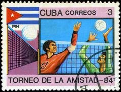 Cuba - circa 1984: a stamp printed in cuba shows volleyball, series friendshi Stock Photos