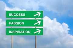 success, passion and inspiration on green road sign - stock illustration