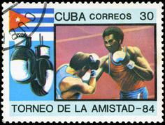 Stock Photo of cuba - circa 1984: a stamp printed in cuba shows box, series friendship tourn