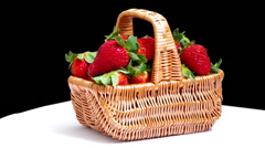 Fresh red strawberries in a basket Stock Footage