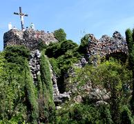 sanctuary of our lady in lichen - poland, golgotha - stock photo