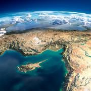 Fragments of the planet earth. cyprus, syria and turkey Stock Illustration