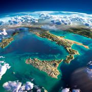 Stock Illustration of fragments of the planet earth. italy and the mediterranean sea