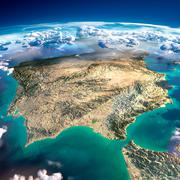 fragments of the planet earth. spain and portugal - stock illustration