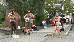Street performers at French Market Place in New Orleans Stock Footage