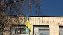 Ukrainian Flag On School Building Stock Footage